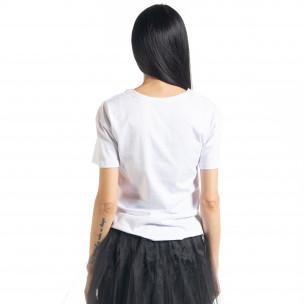 Γυναικεία λευκή κοντομάνικη μπλούζα My Universe  2