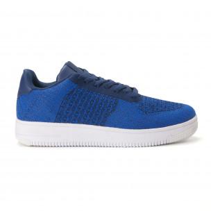 Ανδρικά μπλε sneakers από πλεκτό ύφασμα