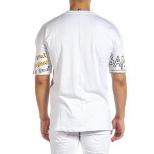 Ανδρική λευκή κοντομάνικη μπλούζα Maksim  2