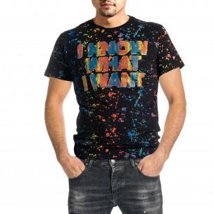 Ανδρική μαύρη κοντομάνικη μπλούζα Jamez