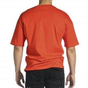Ανδρική κόκκινη κοντομάνικη μπλούζα Oversize  2