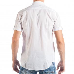 Ανδρικό λευκό κοντομάνικο πουκάμισο με μπαλώματα   2
