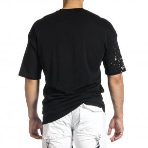 Ανδρική μαύρη κοντομάνικη μπλούζα Oversize  2