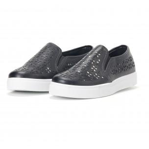 Γυναικεία μαύρα sneakers slip-on με διακοσμητικά σχέδια  2
