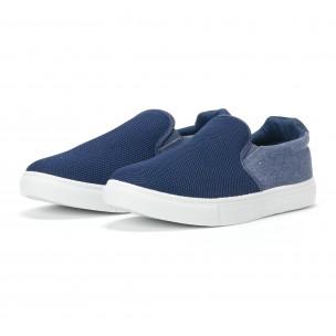 Ανδρικά μπλε sneakers slip-on από τζιν ύφασμα  2