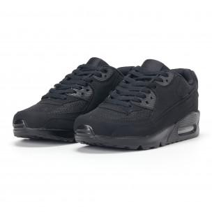 Ανδρικά μαύρα αθλητικά παπούτσια με σόλες αέρα  2