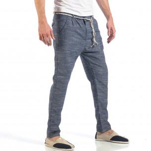 Ανδρικό γαλάζιο παντελόνι με κορδόνι 2
