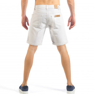 Ανδρική λευκή τζιν βερμούδα απλό μοντέλο 2