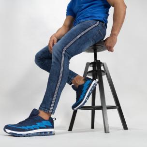 Cropped ανδρικό γαλάζιο τζιν με ρίγα Slim fit