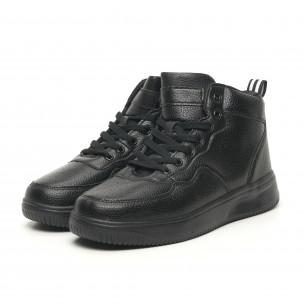 Ανδρικά ψηλά μαύρα sneakers με Shagreen design  2