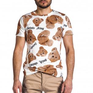 Ανδρική λευκή κοντομάνικη μπλούζα Teddy Bear 2