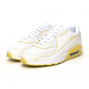 Γυναικεία λευκά-κίτρινα αθλητικά παπούτσια με αερόσολα Jomix 2