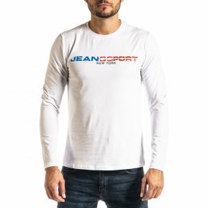 Ανδρική λευκή μπλούζα Jeans Sport