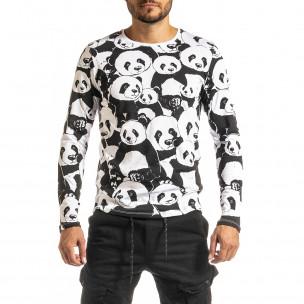 Ανδρική μαύρη μπλούζα Panda