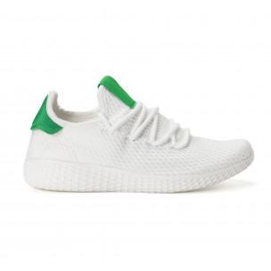 Ανδρικά λευκά αθλητικά παπούτσια με πράσινες λεπτομέρειες