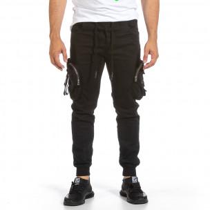 Ανδρικό μαύρο παντελόνι Yes Design