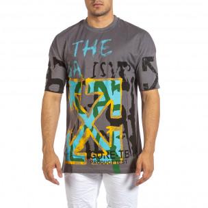Ανδρική γκρι κοντομάνικη μπλούζα Maksim