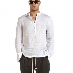 Ανδρικό λευκό λινό πουκάμισο Made in Italy