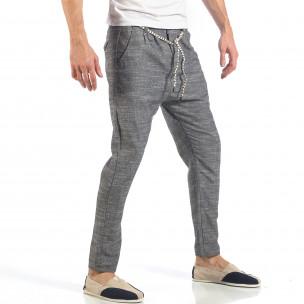Ανδρικό γκρι παντελόνι με κορδόνι 2