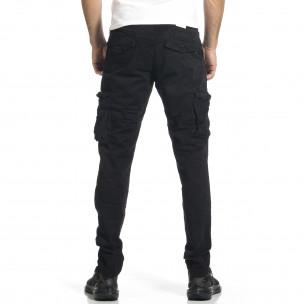 Ανδρικό μαύρο παντελόνι cargo σε ίσια γραμμή Plus Size Blackzi 2