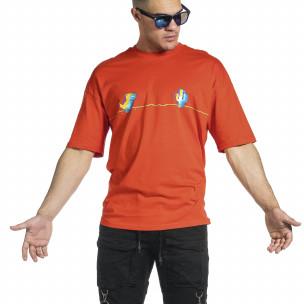 Ανδρική κόκκινη κοντομάνικη μπλούζα Oversize