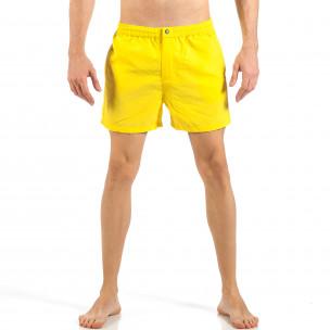 Ανδρικό κίτρινο μαγιό με φερμουάρ και κουμπί