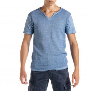 Ανδρική γαλάζια κοντομάνικη μπλούζα Duca Homme