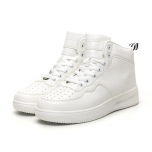 Ανδρικά ψηλά λευκά sneakers με Shagreen design  2