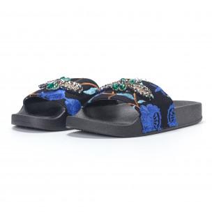 Γυναικείες μπλε παντόφλες  με κέντημα και διακοσμητικές πέτρες 2