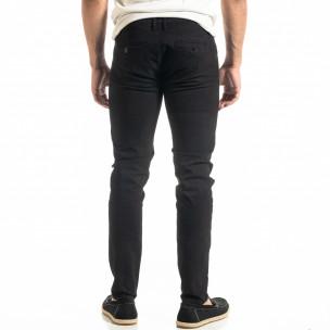 Ανδρικό μαύρο παντελόνι Slim fit Chino 2