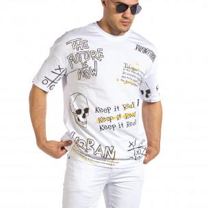 Ανδρική λευκή κοντομάνικη μπλούζα Maksim