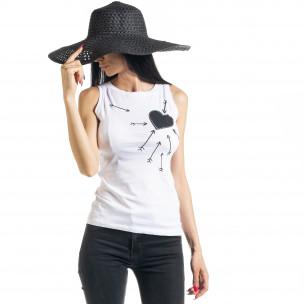 Γυναικεία λευκή αμάνικη μπλούζα