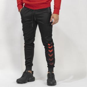 Ανδρική μαύρη Jogger με κόκκινες λεπτομέρειες