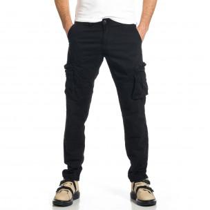 Ανδρικό μαύρο παντελόνι cargo σε ίσια γραμμή Plus Size