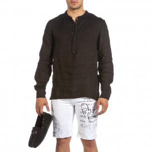 Ανδρικό μαύρο λινό πουκάμισο Made in Italy