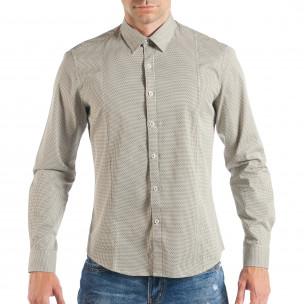 Ανδρικό μπεζ πουκάμισο με κλασικό πριντ