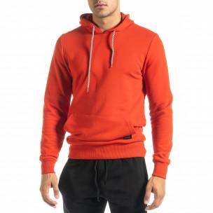 Ανδρικό κόκκινο φούτερ Basic με τσέπη καγκουρό