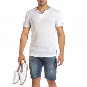 Ανδρική λευκή κοντομάνικη μπλούζα Made in Italy