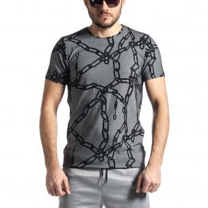 Ανδρική γκρι κοντομάνικη μπλούζα Lagos