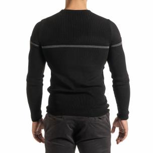 Ανδρικό μαύρο πουλόβερ  2