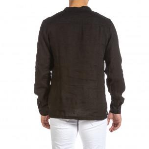 Ανδρικό μαύρο λινό πουκάμισο Made in Italy  2