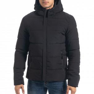 Ανδρικό μαύρο πουπουλένιο μπουφάν με κουκούλα  2