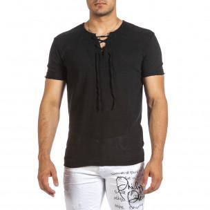 Ανδρική μαύρη κοντομάνικη μπλούζα Made in Italy