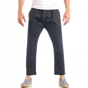 Ανδρικό μαύρο ελεύθερο παντελόνι με λάστιχο