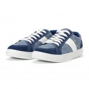 Ανδρικά μπλε sneakers από τζιν ύφασμα  2
