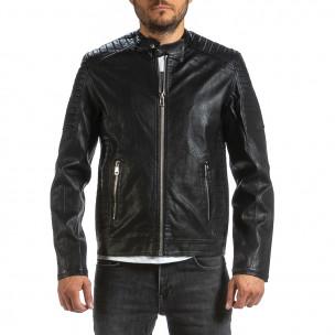 Ανδρικό μαύρο μπουφάν από συνθετικό δέρμα Wanwest