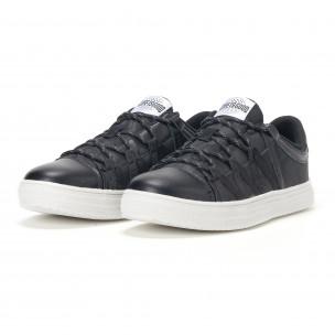 Ανδρικά μαύρα sneakers παραλλαγής με κορδόνια  2