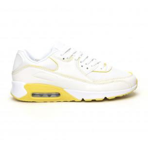Γυναικεία λευκά-κίτρινα αθλητικά παπούτσια με αερόσολα