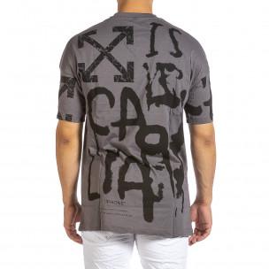 Ανδρική γκρι κοντομάνικη μπλούζα Maksim  2