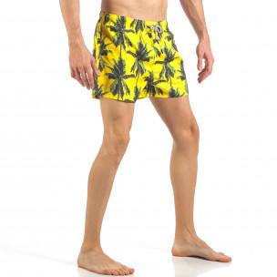 Ανδρικό κίτρινο μαγιό με πριντ φοίνικες  2